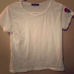 Brandy Melville White Crop Top with rose on sleeve